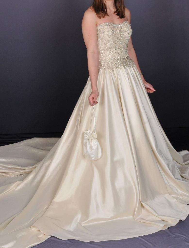 Sleeveless Ivory Wedding Dress - Front