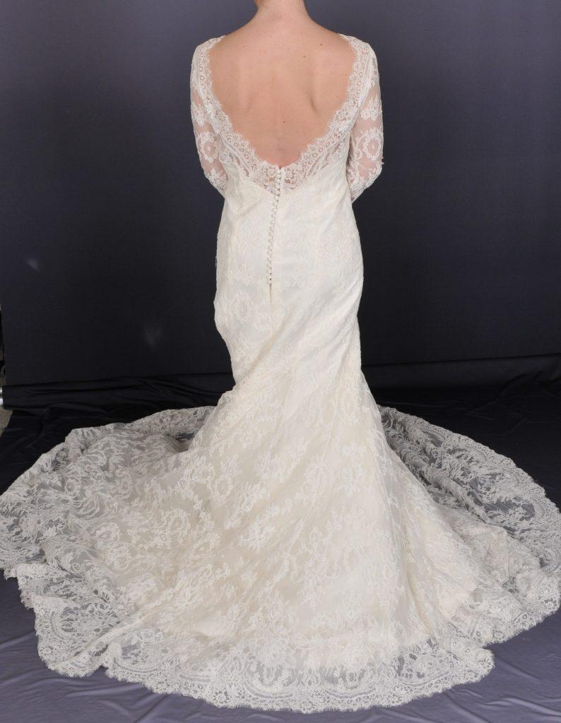Sleeved Open Back Lace Wedding Dress - Back
