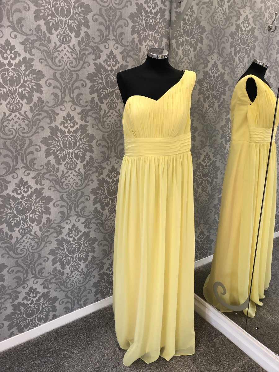 Yellow One Shoulder Bridesmaid Dress - Back