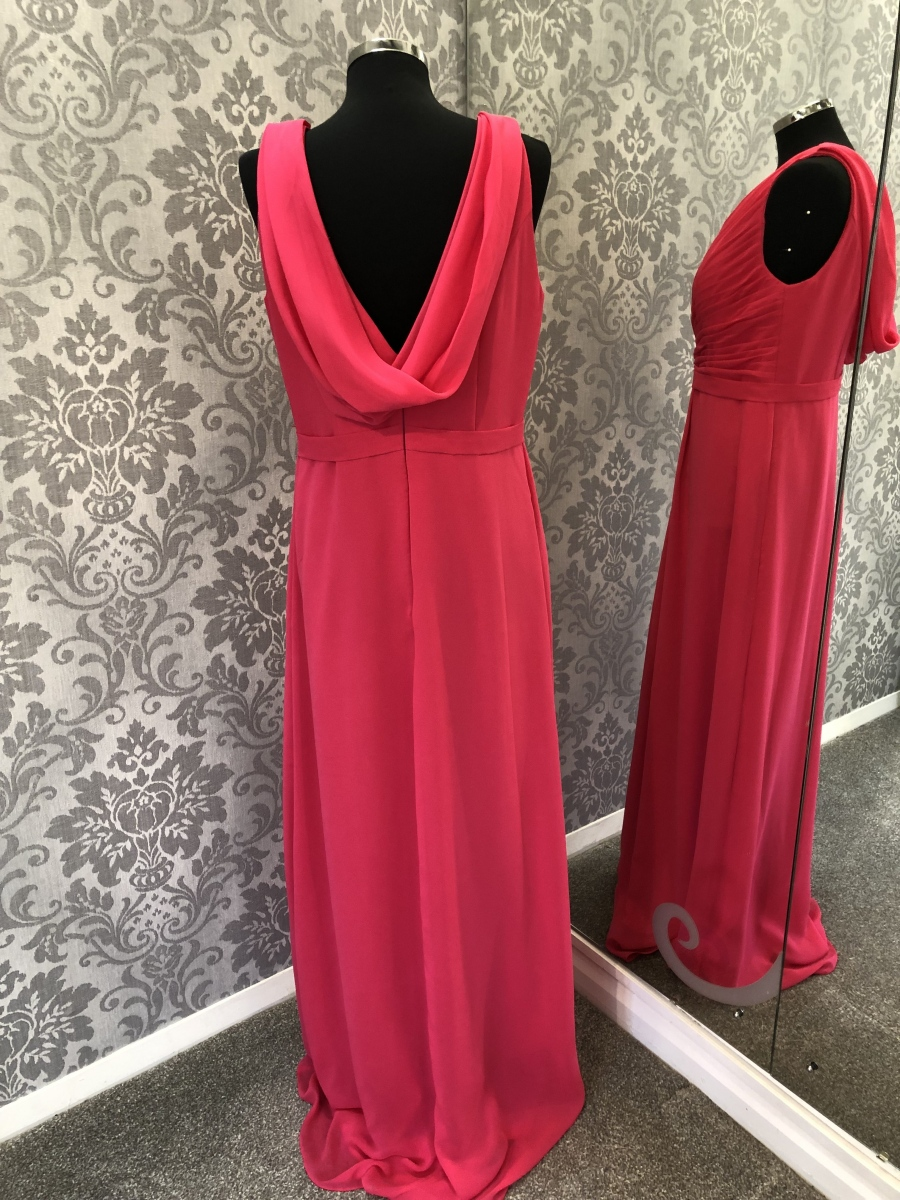 Pink Scoop Back Bridesmaid Dress - Back