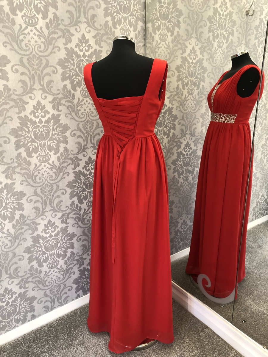 Red Bridesmaid Dress - Rear