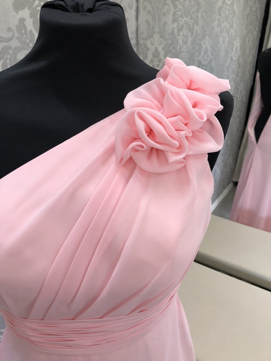 Pink One Shoulder Bridesmaid Dress Strap Details