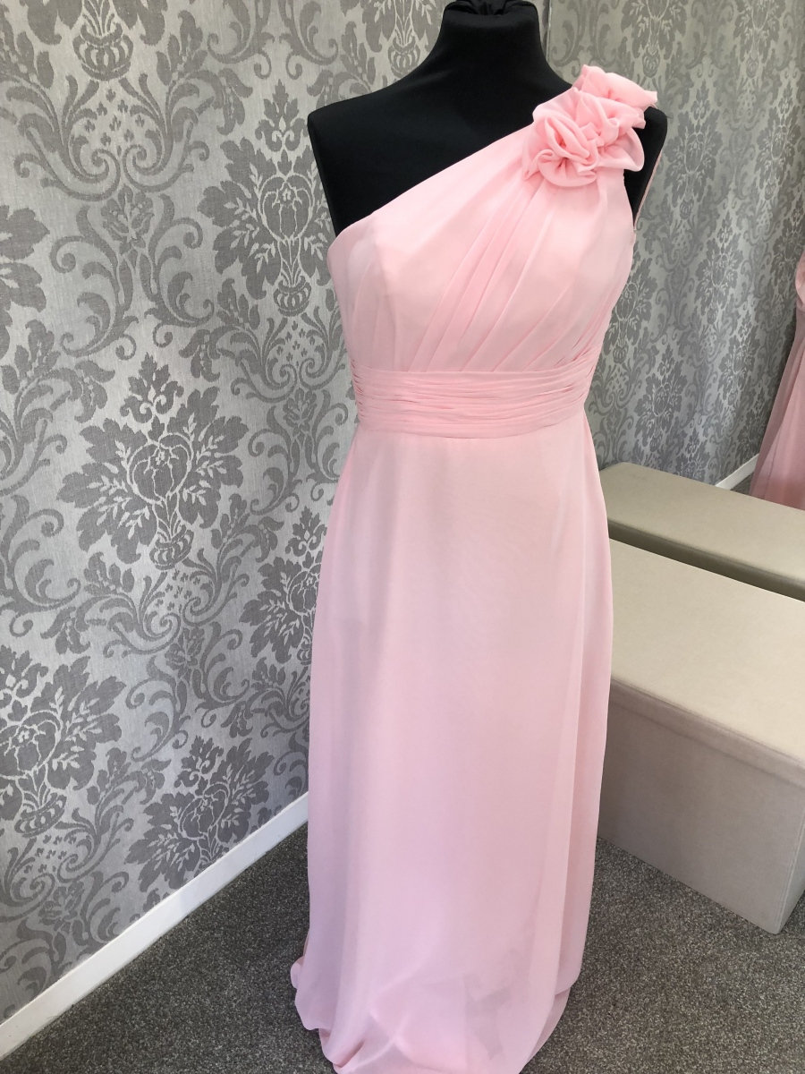 Pink One Shoulder Bridesmaid Dress