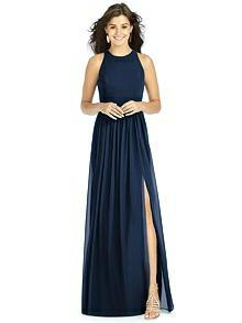 Dessy Midnight Blue Bridesmaid Dress - Front