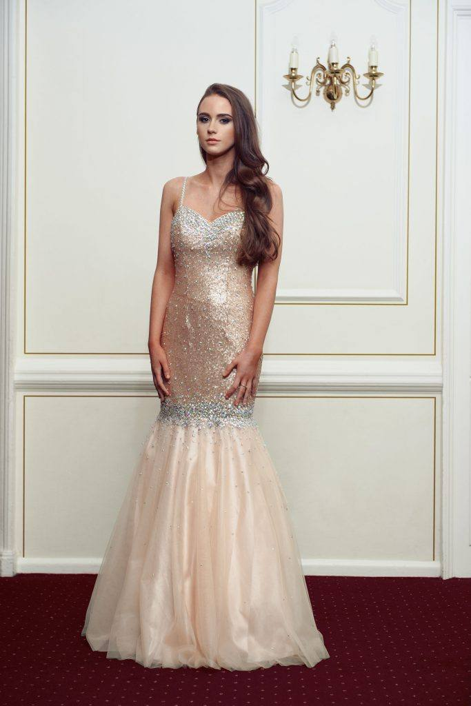 Rose Gold Kiss Me Kate Prom Dress - Front