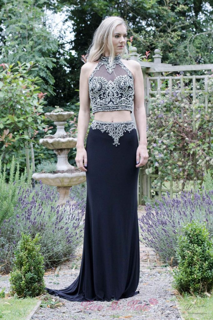 Black Two Piece Kiss Me Kate Prom Dress - Front
