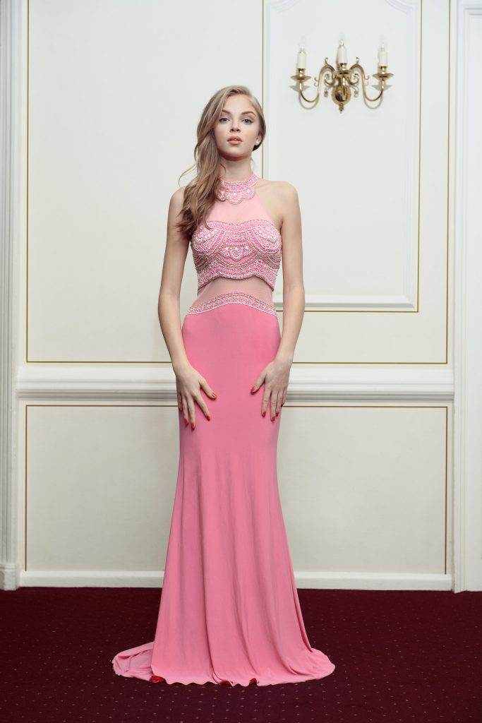 Kiss Me Kate Halter Neck Dress In Pink - Front