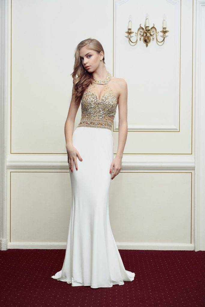 Kiss Me Kate Halter Neck Prom Dress - Front
